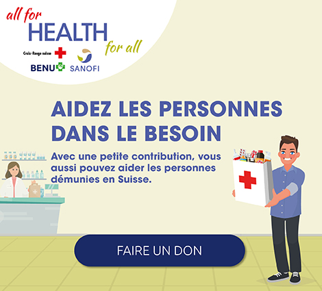 Donation pour aider les personnes dans le besoin en Suisse avec la Croix-Rouge et Sanofi